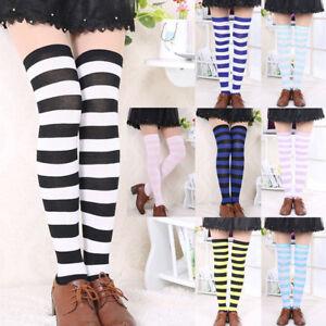 Women Girl Stripe Stripy Striped Over The Knee Thigh High Stockings Long Socks#