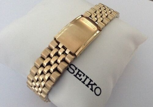SEIKO NEW GENUINE 20MM JUBILEE GOLD TONE STAINLESS STEEL BRACELET 4333YB
