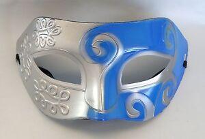 Greek-Roman-Venetian-Mens-Masquerade-Party-Face-Mask-Mid-Blue-amp-Silver
