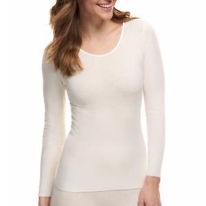 Women Angora Wool Blend White Thermal Shaping Top Basic Shirt  Size XL