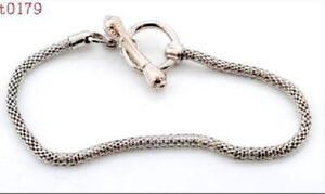 alloy-new-Lobster-Ring-Clasp-Bracelet-Fit-charm-chain-t179-20cm