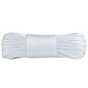 Paracord 100ft White Mil Spec 7 Strand Parachute Cord Outdoor Rope Tie-down Hank