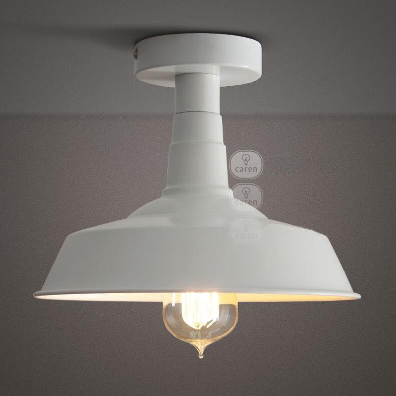 E26 European Weiß Metal Diameter 25cm Height 20cm Industry Ceiling Lamp Light O