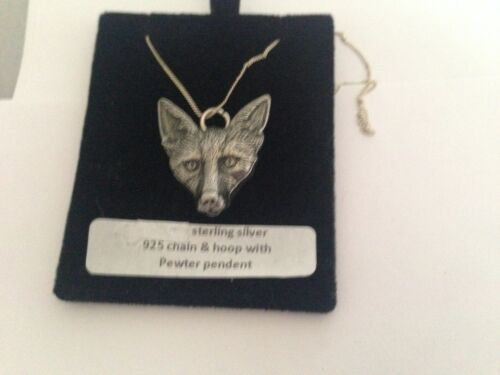 Cabeza de Fox wlfoxkr Peltre Sobre Un Collar De Plata 925 16,18,20,26,30