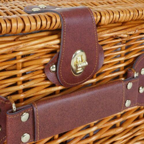 beige Porzellan Edelstahl Picknickkorb-Set HWC-B25 für 4 Personen