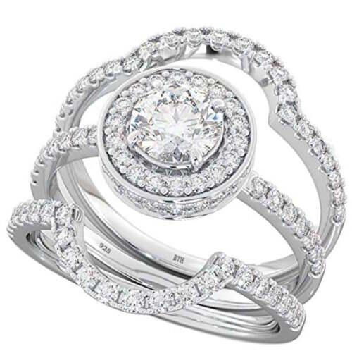 925 Silver Ladies 3 piece Wedding Engagement Round Cut Halo Bridal Ring Set