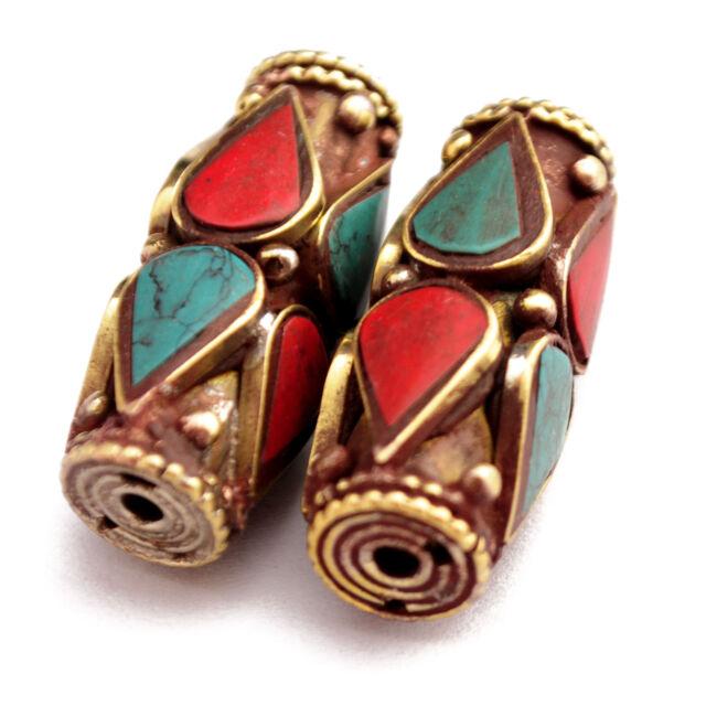 Turquoise Coral Brass 2 Beads Tibetan Nepalese Handmade Tribal Nepal UB2481