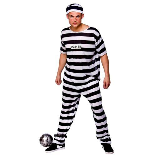 Details about  Adult PRISON BREAK CONVICT Inmate Prisoner Fancy Dress Costume Mens Jail Outfit