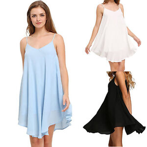 summer sleeveless chiffon dress women loose beach sundress