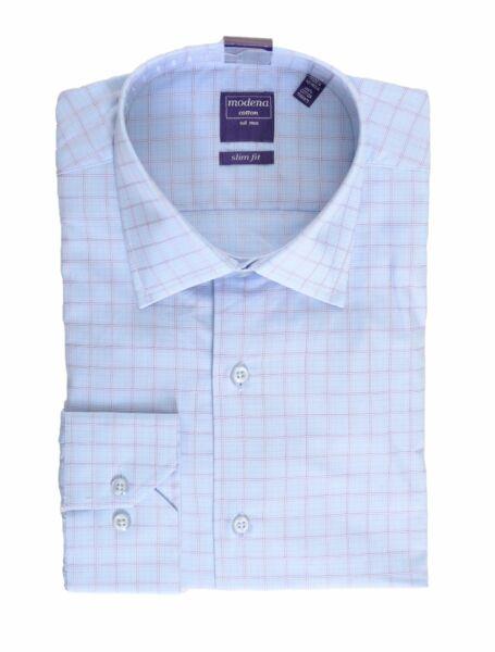 100% Vero Uomo 15 1/2 32/33 Slim Fit Azzurro Con Bianco & Sottile Rosa Plaid Cotone D Eccellente (In) Qualità