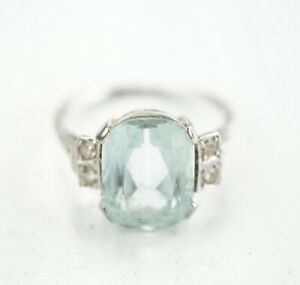 585er-Gold-Ring-Aquamarin-Altschliff-Diamant-Edelstein-14K-Gelbgold-3-40g-Gr-55
