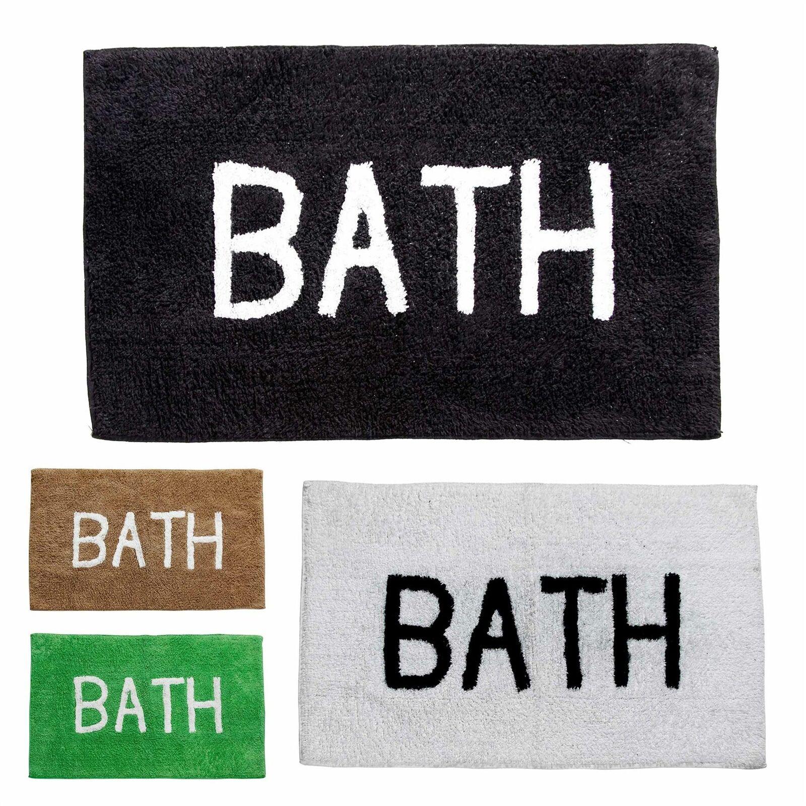 Bath Phrase Cotton Bath Mat Non Slip 1300 GSM Black, Green, White, Brown