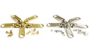 YKK-Zipper-Repair-Kit-4-5-Coil-Long-Pull-Non-Lock-Sliders-Aluminum-or-Brass