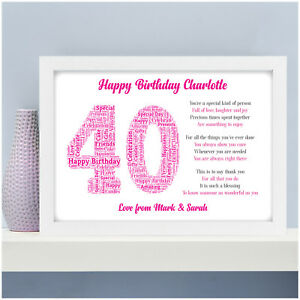 Personalised 40th 50th 60th 70th Birthday Gifts For Her Women Mum
