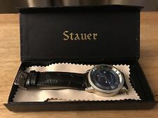 STAUER MENS BLUE DIAL BLACK LEATHER STRAP WATCH