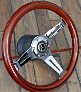 Details about Mercedes Benz Wood Chrome Steering Wheel Restored 350MM W123  W124 W126 W201 R107