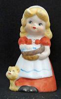 Vintage Jasco Figural Porcelain Bell Blond Girl Cat 1978 Japan Adorabelles