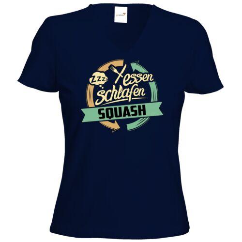 T-Shirt Damen V-Neck Sport Squash RAHMENLOS® Geschenke getshirts