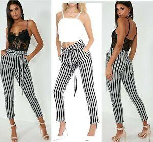 New-Women-Ladies-Paper-Bag-Slim-Waist-Belted-Trouser-Full-Length-Cigarette-Pant