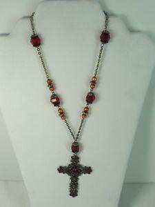 Estate-Modern-Rhinestones-Cross-Religious-Silver-Tone-Necklace-USA-Seller