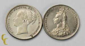 1886-amp-1887-Great-Britain-Shilling-Silver-Coin-Lot-KM-734-4-761