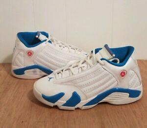 8171a023a877 2012 Nike Air Jordan 14 Retro XIV size GS 5.5Y White   Neptune Blue ...