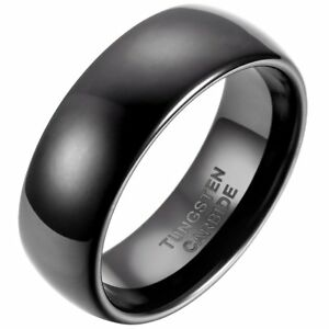 Domed Mens Tungsten Wedding Band 8mm