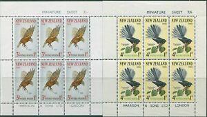 New-Zealand-1965-SG832c-Health-Kaka-and-Fantail-set-of-2-MS-MNH