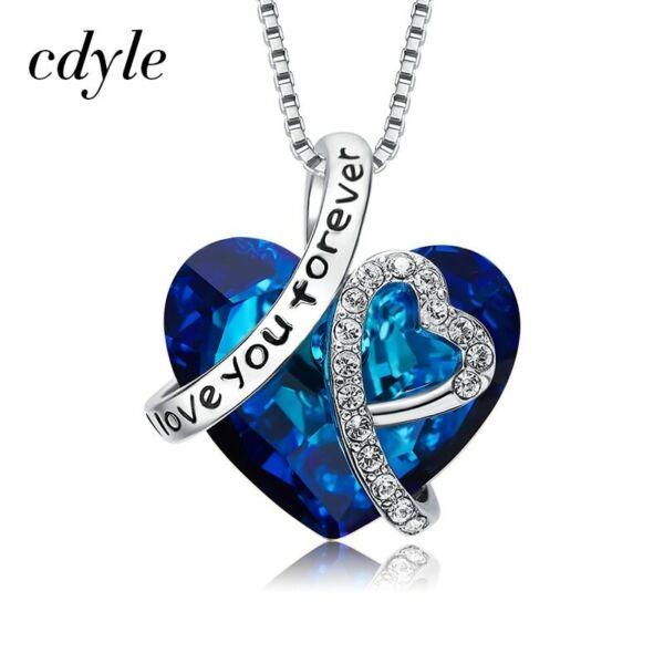 """"""" Love You """" Ewig Halsketten Blau Weiß Gold Silber Weihnachten Geschenke Für Sie Letzter Stil"""