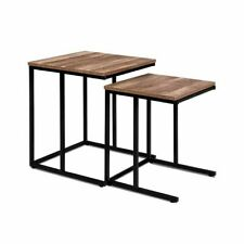 Artiss Nesting Side Table Coffee Wooden Rustic Nest Tables Wood Metal Frame