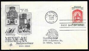 First-Day-of-Issue-Mexican-Independence-150th-Anniversary-1960-Los-Angeles-CA