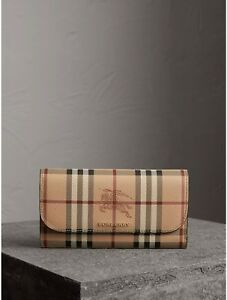 BURBERRY-HAYMARKET-CHECK-AND-LEATHER-SLIM-CONTINENTAL-WOMEN-039-S-WALLET-MID-CAMEL