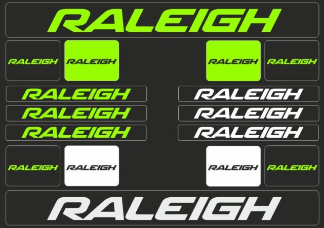 RALEIGH Mountain Bicycle Frame Decal Stickers Graphic Set Adhesive Vinyl Green
