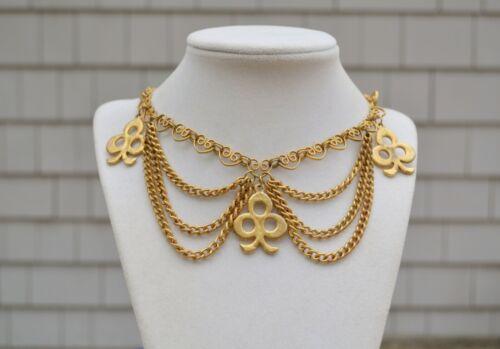 Vintage '50s festoon chain choker necklace clubs/c