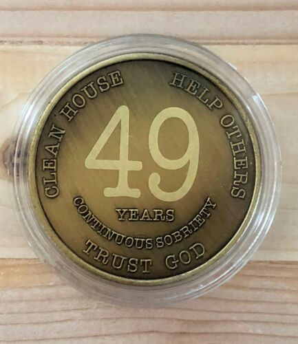 AA 49 Year Chip Bronze Alcoholics Anonymous Coin Bigger Design with Coin Capsule