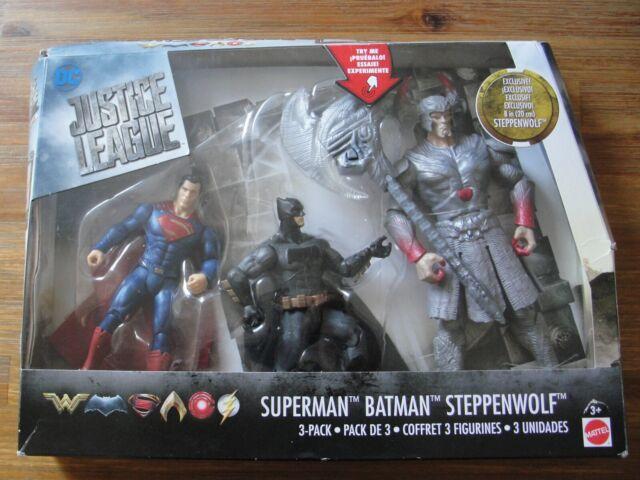 DC Movie JUSTICE LEAGUE BATMAN STEPPENWOLF SUPERMAN 3-Pack Figures