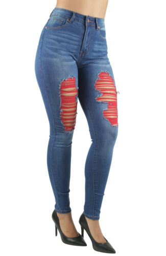 Women/'s Juniors High Waist Ripped Distressed Skinny Jeans