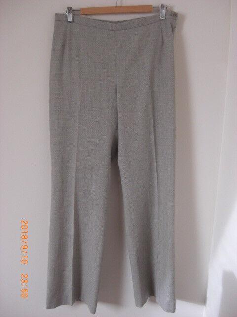 Paul Costelloe Dressage Oatmeal Cream Marl Virgin Wool Crepe Lined Trousers 14