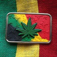 """Cannabis Belt Buckle Rasta Rastafari Selassie Marley Weed Belt Buckle Irie 3.25"""""""