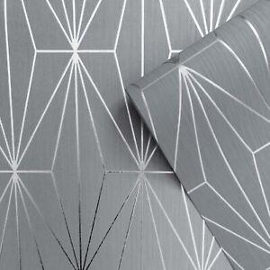 Muriva-Kayla-Papier-Peint-Geometrique-Metallique-703014-Gris-amp-Gunmetal