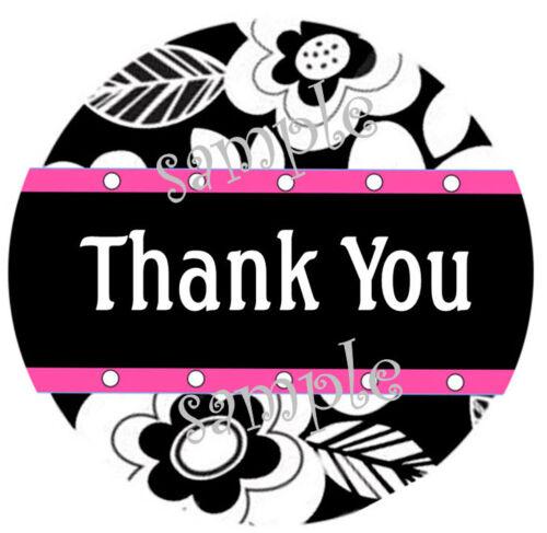 LASER PRINTED BLACK /& WHITE FLORAL PRINT PINK TRIM #2 THANK YOU STICKER LABELS