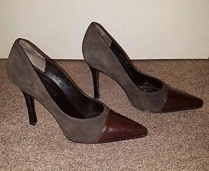 LADIES WOMENS HIGH HEELS LEATHER SHOES USED SIZE 4-37 LIGHT BROWN