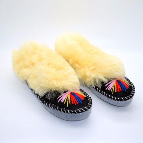 Pantofole Donna in Pelle Naturale Pelle Di Pecora Mocassini Scarpe fatte a mano color crema