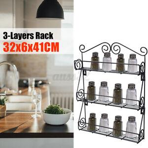 Spice-Rack-3-Tier-Wall-Mounted-Holder-Storage-Shelf-Cabinet-Organizer-Kitchen-U