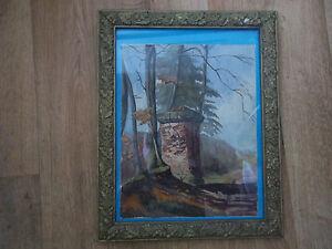 Belle-peinture-aquarelle-de-1949-et-cadre-stuc-platre-du-19eme-signe-j-rilard