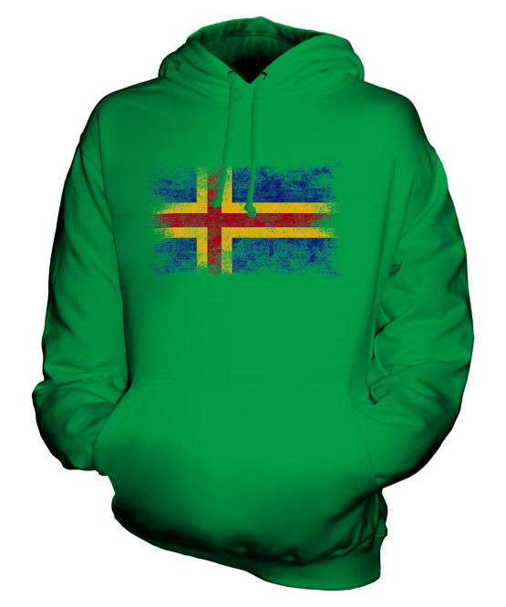 ALAND DISTRESSED FLAG UNISEX HOODIE TOP FOOTBALL GIFT  CLOTHING JERSEY