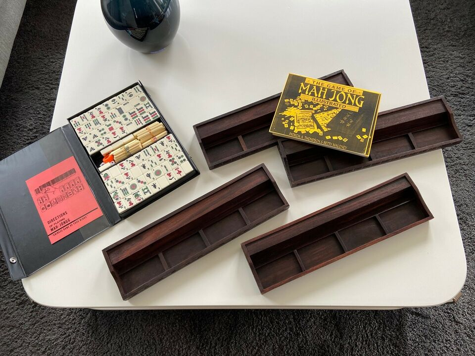 Vintage Teak Mahjong Sæt, Mahjong, brætspil