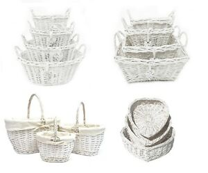 Ovale Rectangle Blanc Français Shabby Chic Wicker Kitchen Craft Home stockage panier-afficher le titre d`origine zUUV9RGm-07190128-682453660