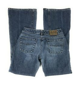 Silver-Low-Rise-Vented-Flare-100-Cotton-Distressed-Blue-Jeans-Women-039-s-30x34