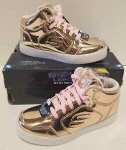 Details about Kid Girl Skechers Energy Lights Rose Gold Rechargable Light Up US 3M Shoes NIB